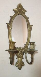 Vintage Ornate Heavy Brass Wall Sconce Dual Candle Holder Beveled Glass Mirror