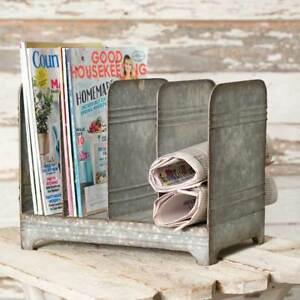 Galvanized Magazine Rack Desktop File Cabinet Organizer Holder Primitive Rustic