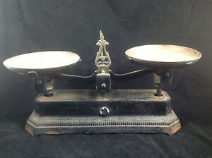 Antique Vintage Cast Iron Balance Scale W Two Copper Trays