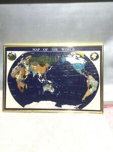 Vintage Map Of The World Inlaid Gemstones Of The World Framed
