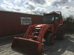 2009 Kubota L3240 4x4 Hydro Compact Tractor Loader Backhoe W Cab Only 1100 Hrs