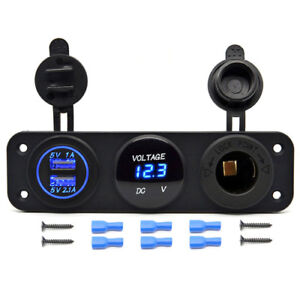 3hole Switch Panel Car Rv Boat Dual Usb Blue Led Charger Outlet Socket Voltmeter