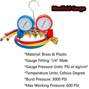 Ac Diagnostic Manifold Freon Gauge Set For R12 R22 R134a Refrigerants Service