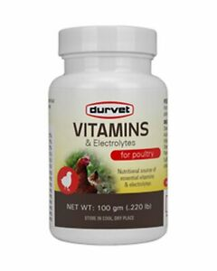 Durvet Vitamins Electrolytes For Poultry 100 Gm Water Soluble Premix