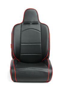 Cipher Auto Suspension Seats Black Leatherette W Red Piping Pair