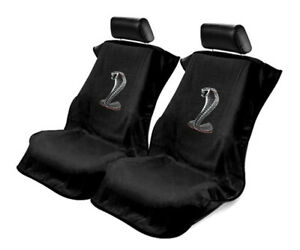 Seat Armour 2 Piece Front Car Seat Covers For Mustang Cobra Black Terry Cloth
