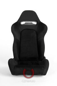 Cipher Auto Racing Seats black Cloth W Suede Insert Grey Stitching Pair