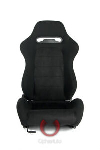 Cipher Auto Racing Seats black Cloth W Microsuede Insert Pair