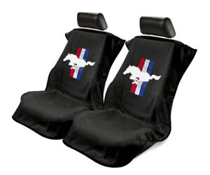 Seat Armour 2 Piece Front Car Seat Covers For Mustang Pony Black Terry Cloth