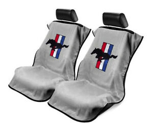 Seat Armour 2 Piece Front Car Seat Covers For Mustang Pony Grey Terry Cloth