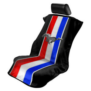 Seat Armour Front Car Seat Cover For Mustang Pony Tribar Black Terry Cloth