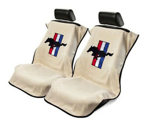 Seat Armour 2 Piece Front Car Seat Covers For Mustang Pony Tan Terry Cloth