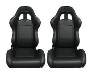 Cipher Auto Racing Seats Black Leatherette W Blue Accent Piping Pair