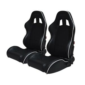 Cipher Auto Racing Seats black Leatherette W White Accent Piping Pair