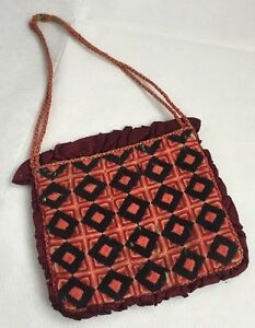 Antique Vintage Victorian Hand Worked Wool Work Embroidered Purse Bag Old Early