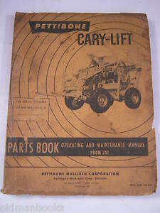 Pettibone 251 Cary Life Parts Book Operating Maintenance Manual