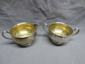 Frank M Whiting Gold Wash Sterling Silver Creamer Sugar Weighted