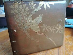 Vintage Japanese Lacquer Reddish Brown Box With Bird Decoration