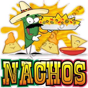 Nachos Cheese Pepper n chips Cartoon Concession Trailer Food Truck Sign Decal