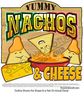 Nachos Cheese Chips Cartoon Concession Trailer Food Truck Sign Menu Decal