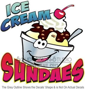 Ice Cream Sundaes Fun Cartoon Concession Trailer Food Cart Truck Menu Sign Decal
