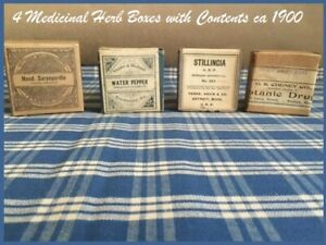 4 Antique Apothecary Pharmacy Doctor S Medicinal Herb Boxes Ca 1900 Most Sealed