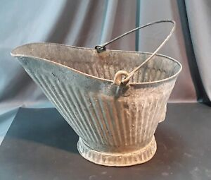Antique Primitive Vintage Galvanized Metal Coal Ash Bucket Pail Can