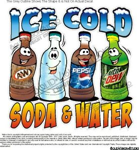 Ice Cold Soda Water Bottled Concession Trailer Food Truck Hot Dog Cart Decal