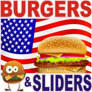 Burgers Sliders Concession Trailer Food Truck Ad Sale Vinyl Sticker Menu Decal