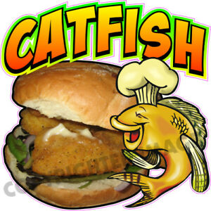Catfish Sandwich Concession Trailer Food Truck Ad Sale Vinyl Sticker Menu Decal