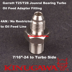 Garrett T25 T28 Journal Bearing Turbo Oil Feed 4an Adapter Fitting No Restrictor