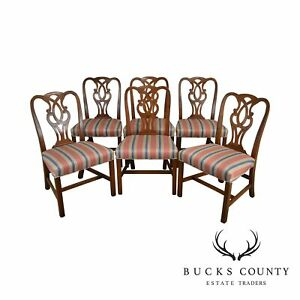 Baker Mahogany Chippendale Style Set 6 Dining Chairs