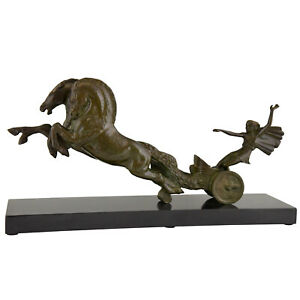 Ruchot Art Deco Bronze Sculpture Horse And Lady In Carriage 1930 France