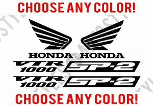 Honda 1000 Crx Vtr Racing Moto Sport Sp 2 Decal Wings Vinyl Stickers 4 Set