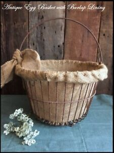 Primitive Antique Rusty Wire Farmhouse Egg Basket With Burlap Lining