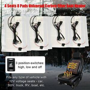 8 Pads Carbon Fiber Universal Seat Heater Warmer 2 Seats 3 level Switch Fits 12v