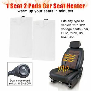 Carbon Fiber Universal Car Heated Seat Heater Kit Cushion Warmer W Switch 2 Pads