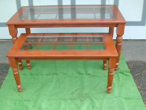 Custom Wood Nesting Tables Heavy Glass Tops Local Pickup Only A Gr8 Deal