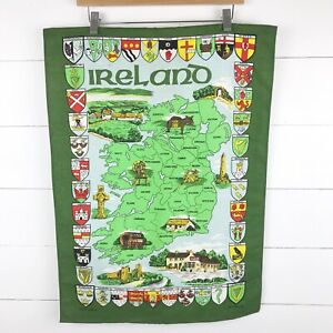 Ireland Map Hanging By Poplar Vintage Linen Union Country Castles Limerick Cork