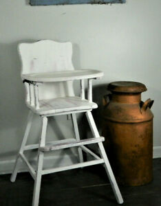 Vintage Wooden High Chair White Farmhouse Shabby Chic Baby Birthday