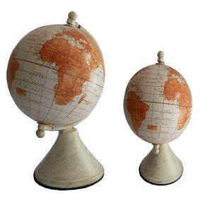 Brand N Ocean Globe Earth Table Decor World Geography Rotating Cream And Orange