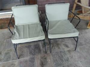 2 Vintage Art Deco Modern Iron Chairs With Leather Inside Or Outside Art Modern