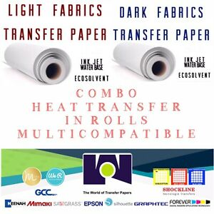 Combo Ink jet Heat Transfer Paper Rolls Light And Dark 24 x50 One Each Total 2