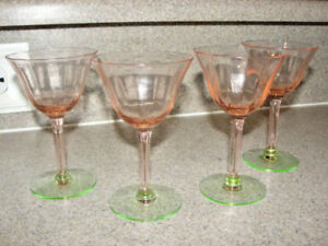 Tiffin Pink Green Glass Wine Sherbert 4 Glasses Watermelon Depression Lot