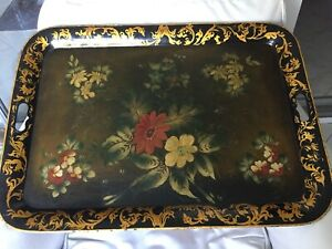 Extra Large 19c Antique Tole Floral Handpainted Tray
