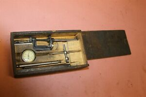 L S Starrett 196 Dial Test Indicator With Attachments Wood Case