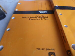 John Deere 400g Crawler Bulldozer Op test repair Technical Manual Tm1411 Tm1412