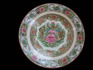 Chinese Antique Canton Mandarin Rose Medallion Large 15 Charger Plate