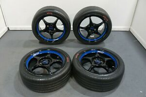 Enkei Rp01 Wheels 17x7 4x114 3 Black With Blue Lip For Honda And Nissan Fitment