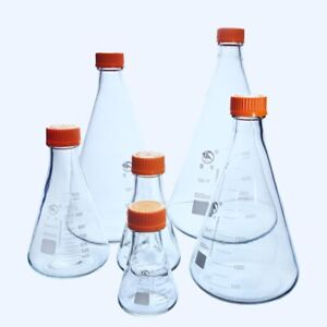 2000ml glass Erlenmeyer Flask With Yellow Plastic Screw Cap Lab Conical Bottle